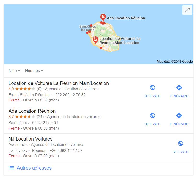 immage illustration carte intéractive google location voiture réunion