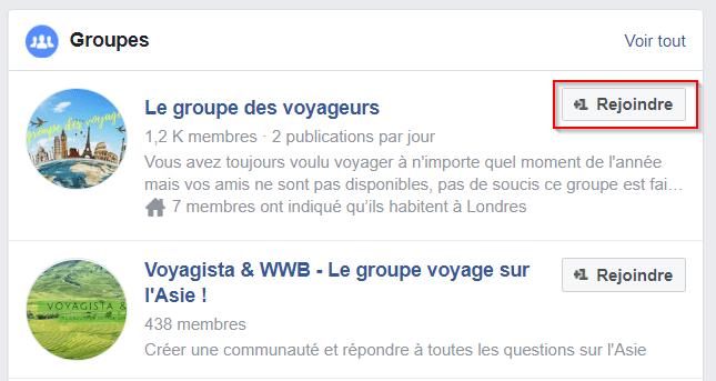 illustration choix facebook groupe voyage