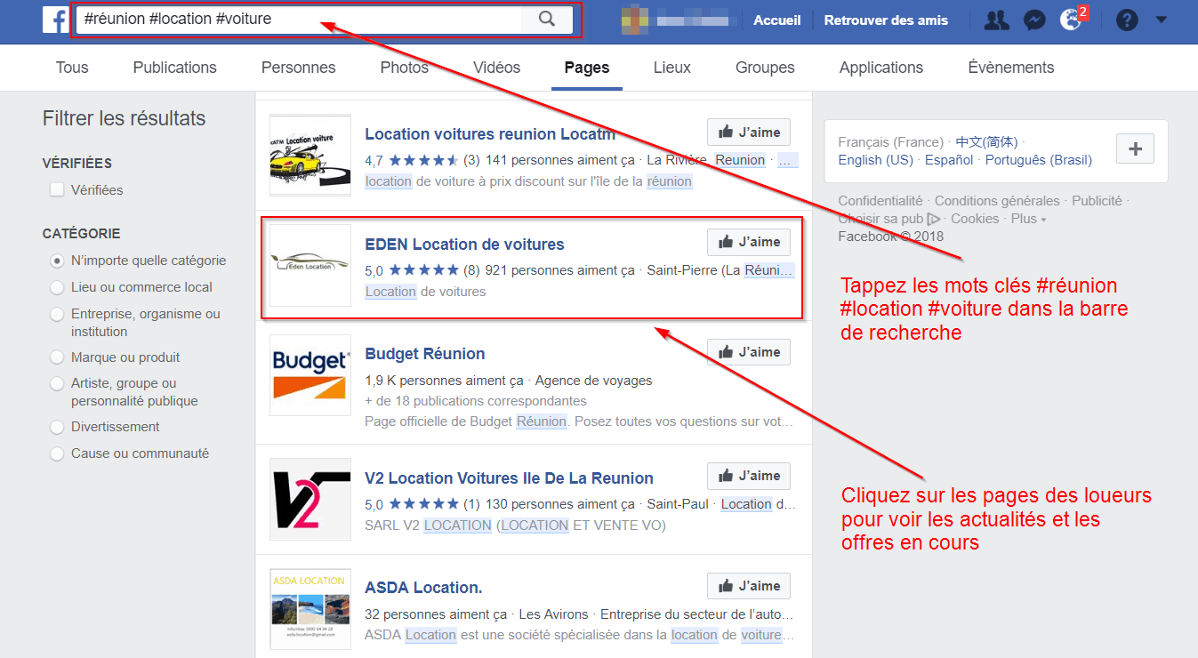 illustration mot clé location voiture facebook